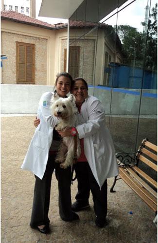 Cão com enfermeiras